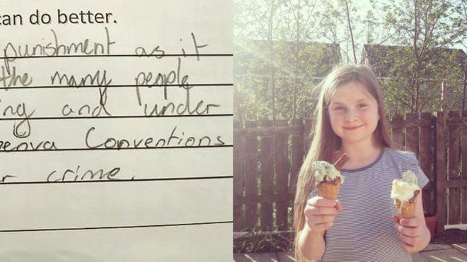 Küçük kızdan öğretmenine Toplu cezalandırma yönteminiz Cenevre Sözleşmesi'ne aykırı